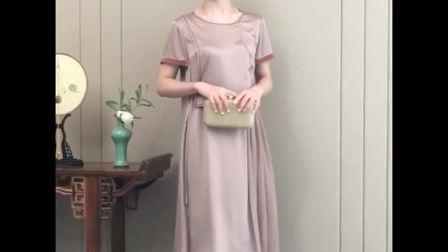 真丝连衣裙2019新款夏装中长款大摆时尚优雅高端桑蚕丝连衣裙大码