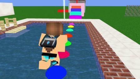 我的世界动画-怪物学院-泳池障碍赛-Mr. SP
