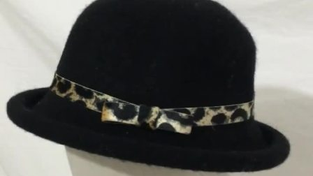 新款豹纹丝带羊毛圆顶捲边小丸子盆帽英伦小礼帽爵士帽女帽子女