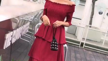 女神时尚一字肩洋装女气质春夏2019新款韩版黑天鹅中长版蛋糕裙