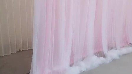 婚庆网纱纱幔道具婚礼双层飘纱帷幔生日甜品台新款舞台背景幕布墙