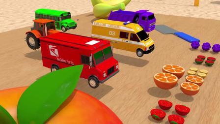 儿童颜色启蒙-救护车,小汽车车辆玩具车与5色足球