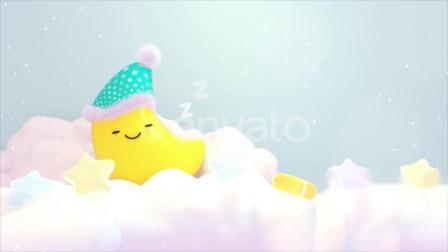 视频素材网(shipinsucai.com)超萌可爱月亮戴着睡帽睡在蓬松粉彩色云朵上卡通视频素材下载