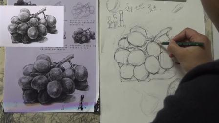合肥琢璞艺术-黑白画葡萄,分形起轮廓 明暗对比