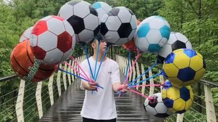 君晓天云足球主题生日气球布置儿童学校运动会酒吧ktv世界盃足球篮球气球