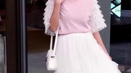 网纱半身裙女2019新款纱裙中长版蛋糕裙韩版百搭百褶斜边仙女裙子
