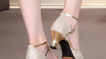 君晓天云摩登拉丁舞鞋女成人舞蹈鞋女式广场交谊交际舞鞋中跟高跟软底女鞋