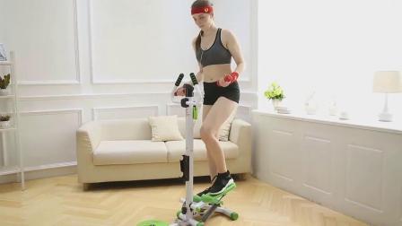 君晓天云踏步机摇摆减肥器家用小型脚踏式扶手蹬瘦腿健身简易免安装登山机