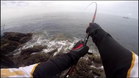 矶钓中烟仔,鱼竿的弧度太劲爆了,看着惊心动魄硬是撑住了