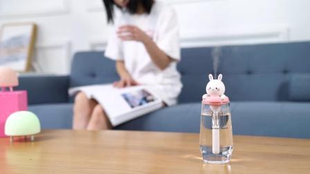 君晓天云空调房usb加湿器无水箱可携式矿泉水瓶车载甜甜圈小型迷你可爱少女家用静音小兔子小熊学生办公室房间卧室