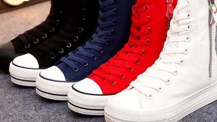 君晓天云春秋女生高筒舞蹈鞋白色高邦帆布鞋流行街舞洋派小白鞋厚底鬆糕鞋