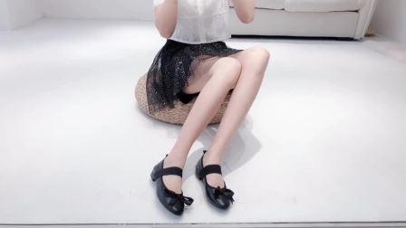君晓天云森屿海巷 甜美单鞋蝴蝶结芭蕾舞鞋真皮豆豆鞋韩版平底玛丽珍鞋女