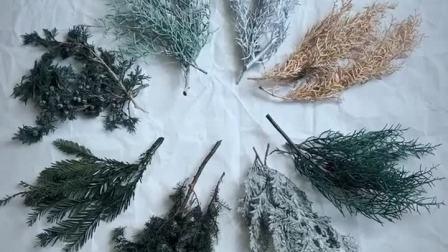 君晓天云中份乾燥花叶材永生花diy材料包耶诞鬆枝尤加利叶花环饰品拍摄道具