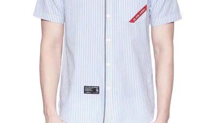 izzue男装长袖衬衫2019夏季新品潮流条纹印花简约贴袋8101S9C