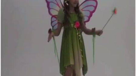 万圣节Cos女童舞台表演服儿童演出服装公主裙可爱绿色仙子裙