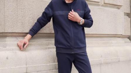 君晓天云中老年运动套装男春秋冬季加厚加绒爸爸套装三件套中年男士运动服