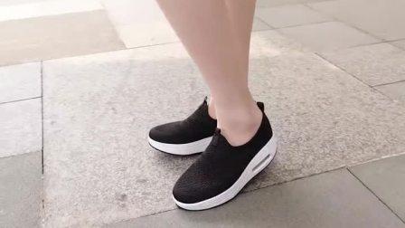 君晓天云摇摇鞋女网面透气厚底2019夏季新款气垫坡跟休闲运动鞋布鞋一脚蹬