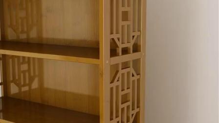 君晓天云楠竹书架书柜简约现代书架落地简易书架客厅实木置物架储物柜