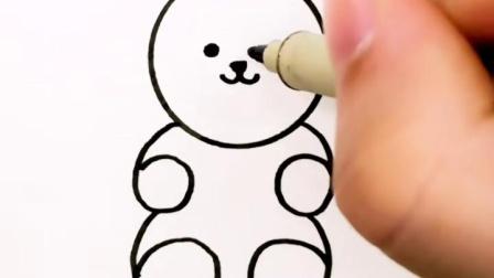 """用硬币和四个""""6""""画小熊#绘画教程 #简笔画"""