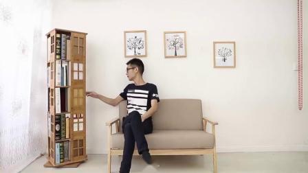 君晓天云竹庭360度创意旋转书架置物架楠竹简约学生书柜简易小书架落地架