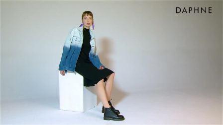 君晓天云Daphne达芙妮2019秋纯色马丁靴女时尚舒适牛筋圆头厚底休闲短靴