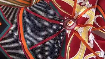 君晓天云法式设计 华丽马车斜纹绸真丝围巾手工捲边桑蚕丝丝巾90方巾