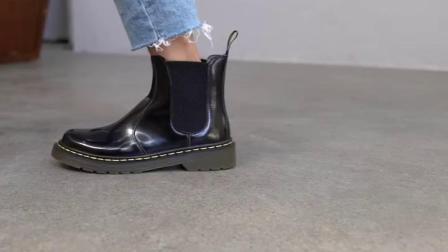君晓天云荃茵切尔西短靴女英伦风平底单靴真皮复古圆头厚底百搭黑色马丁靴