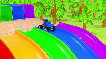汽车从停车场行驶下来,掉进彩色魔法足球,宝宝英语启蒙颜色