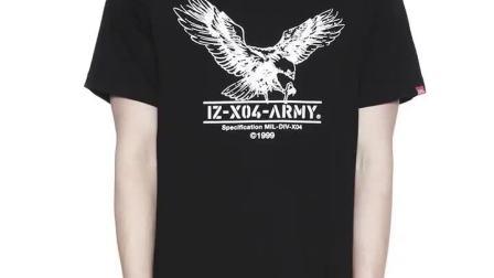 君晓天云izzue男装休闲T恤夏季简约纯色合身老鹰图案1187U8A
