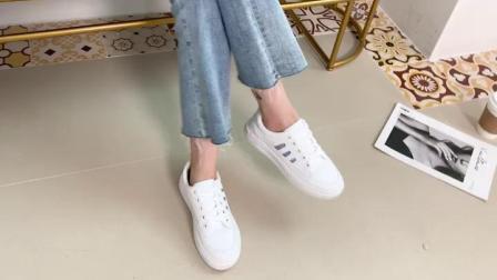君晓天云小白鞋女2019夏季新款百搭平底板鞋夏款透气女鞋网红单鞋休闲白鞋