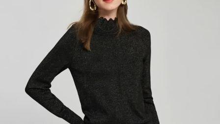 君晓天云半高领打底衫女2019秋装新款时尚优雅通勤长袖套头毛衣金丝针织衫