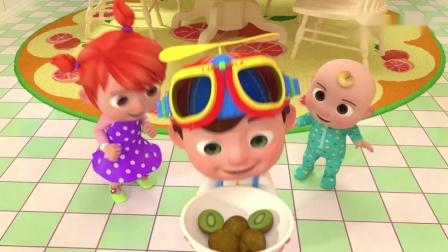 用草莓、菠萝、猕猴桃做水果汁冰淇淋,益智启蒙英语歌曲认识水果