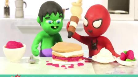一起来制作生日蛋糕,搞笑彩泥动画
