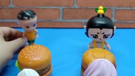 大头和葫芦娃比赛啦,葫芦娃的汉堡会变身,真厉害!