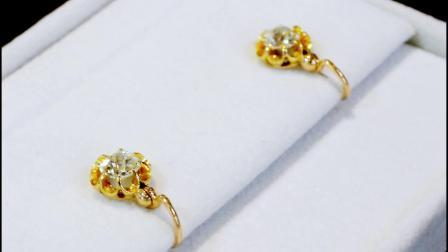 0.94克拉鑽石和15克拉黃金耳環 - 古色古香的大理石1910年 -A7573