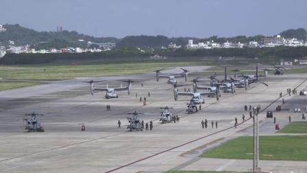 美海军陆战队第36航空大队于冲绳进行快速部署演习