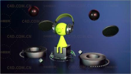 C4D听音乐的卡通人物动画工程 - C4D.COM.CN