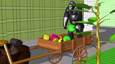 大猩猩坐洒水车给水果树浇水,结出水果给小动物吃,启蒙动画