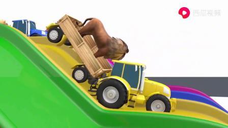 大猩猩坐汽车走进染料池,变出各种颜色,益智启蒙动画