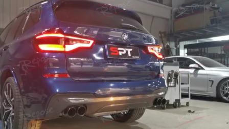 19款宝马X3 2.0T Repose中尾段四出阀门款排气装车 开关阀门原地声音效果视频