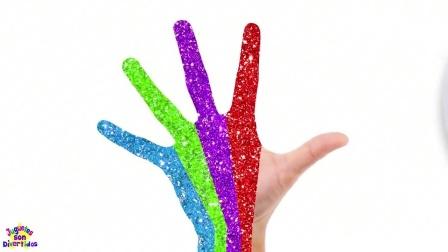 亲子幼儿英语学颜色,给小手图上红色、黑色、绿色、蓝色,启蒙