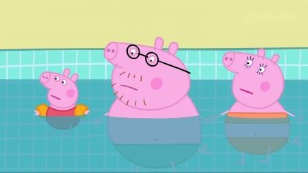 小猪佩奇猪爸表演跳水,令人很不放心,没想到猪爸跳的很好