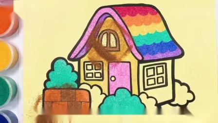超漂亮你想拥有一个独栋的小木屋吗儿童手工沙画