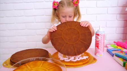 萌娃小可爱亲手给老爸做了一个生日蛋糕,小家伙真是棒棒哒!萌娃:会喜欢吗