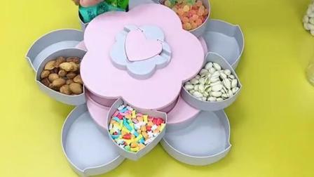 旋转花瓣果盘双层干果盘糖果盒瓜子盘零食收纳盒创意家用客厅现代
