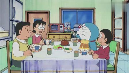 哆啦A梦:妈妈做了丰盛的晚餐,大雄吃的太多记忆吐司吃不下了