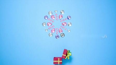 春节晚会 公司年会 歌曲配乐 E106 创意新年礼盒水晶雪花焰火绽放烟火升起新年快乐节目舞台歌舞表演晚会LED视频 中国风视频