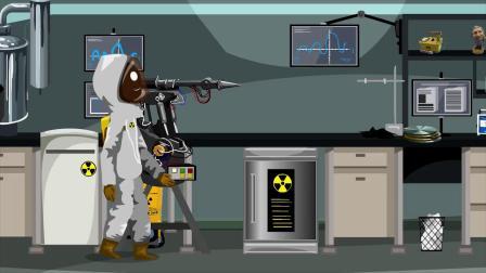 火柴人逃生两个科学家在打牌,却没有发现实验室的危险来了