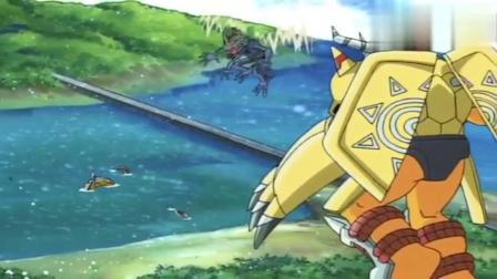 数码宝贝:战斗暴龙兽使用绝招,战斗龙卷风,打败钢铁海龙兽!