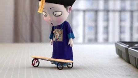 叫我僵小鱼:粑粑用雪糕棒做的新滑板,不会转弯啊
